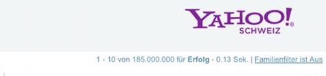 Erfolg unter 185.000.000 Einträgen