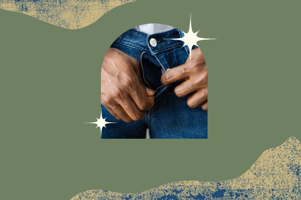 Mann öffnet an seiner Jeans seinen Hosenladen mit beiden Händen - Abhängigkeit von Masturbation- Was passiert wenn wir masturbieren