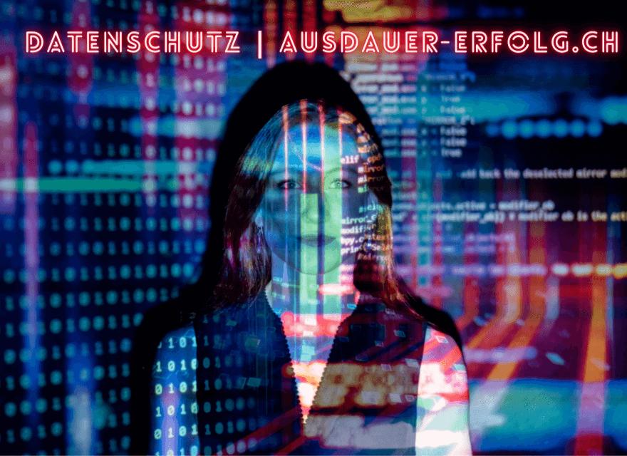 Eine Frau im Fokos mit vielen Daten. Datenschutz ausdauer-erfolg.ch