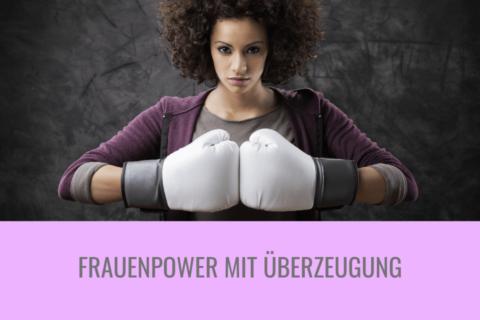 Frauenpower Frau trägt Boxhandschuhe